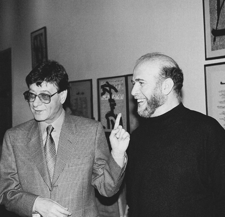 Rachid Koraïchi and Mahmoud Darwich, 1995. Inauguration of the exhibition A Nation in Exile